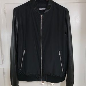 Karl lagerfeld  leather bomber jacket